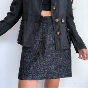 NWT Ann Taylor Shimmer tweed black a line skirt 8